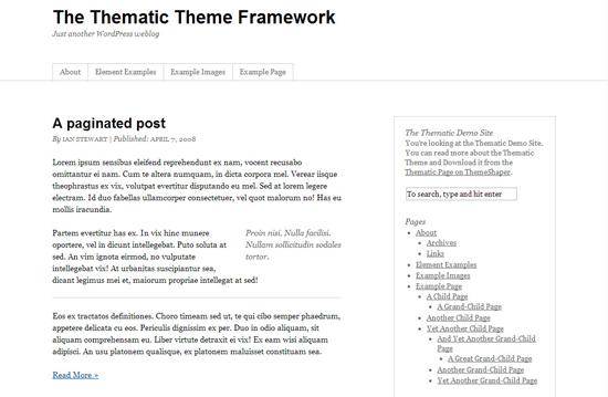 Thematic WordPress theme frameworks