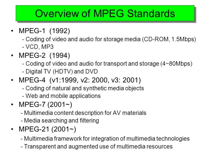 mpeg video standards